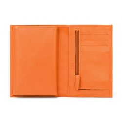 Portefeuille en cuir, à  4 volets - orange - 220