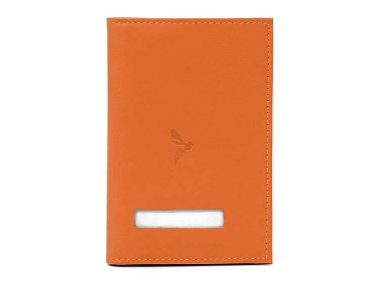 Protège passeport en cuir - orange - 421