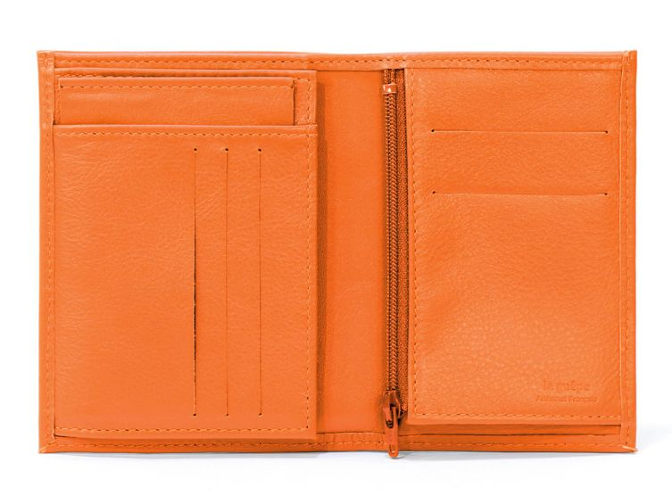 Portefeuille en cuir, à  3 volets - orange - 582