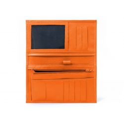 Porte-chéquier en cuir - orange - 135