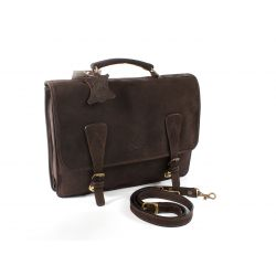 Cartable 1 soufflet en cuir nubuck marron