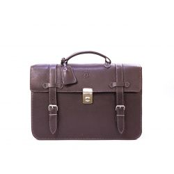 Cartable cuir marron grainé 2 soufflets 13180