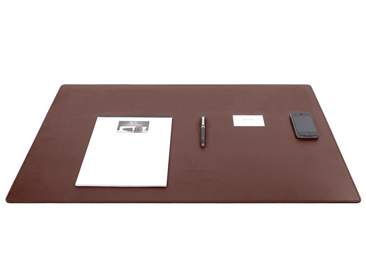 Grand sous-mains - en cuir marron - 80x50 cm