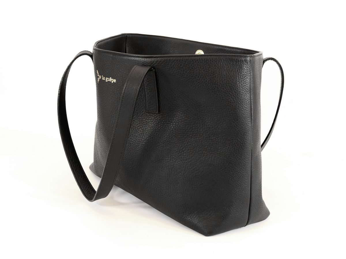 bc211cbbb6e Sac cabas cuir noir Made in France modele clement
