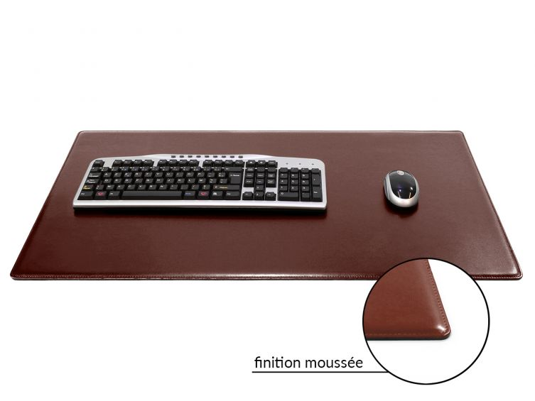 Grand sous main de bureau en cuir marron 80 cm par 50 cm for Bureau 80 cm de large