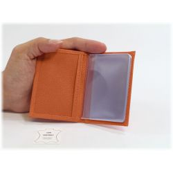 Porte-cartes compact en cuir orange - 116
