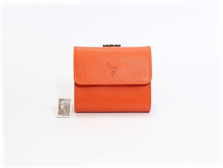 Porte-monnaie en cuir orange - 206
