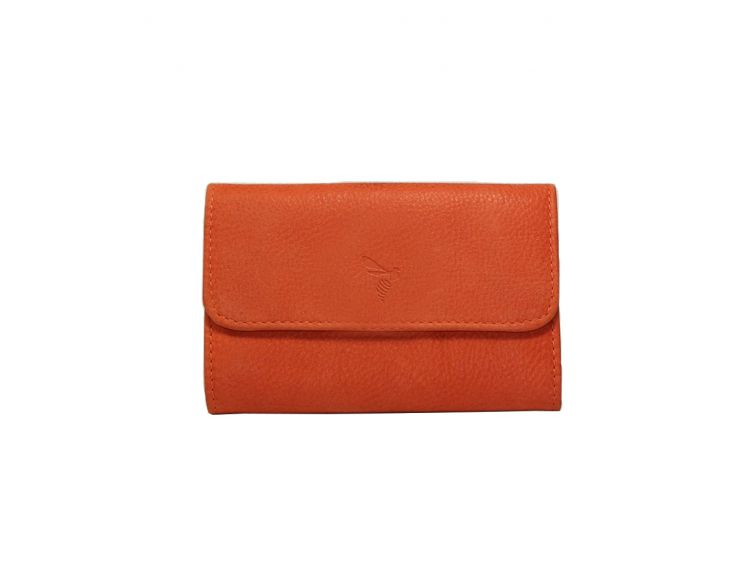 Porte-monnaie cuir nubuck orange - 004