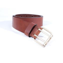 Ceinture homme en cuir marron cannelle double perforation 4007 Cannelle