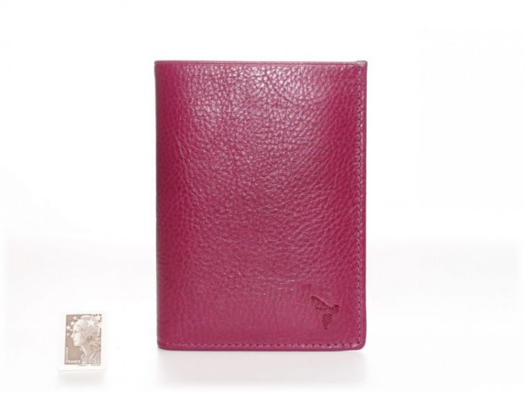Portefeuille compact cuir - rose - 582
