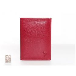Portefeuille compact cuir - rouge - 582