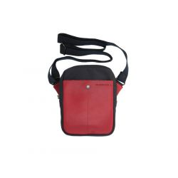 Pochette simple compartiment toile marine / cuir rouge