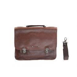 Cartable serviette en cuir marron 2 soufflets