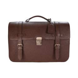 Cartable cuir marron grainé 3 soufflets 13180
