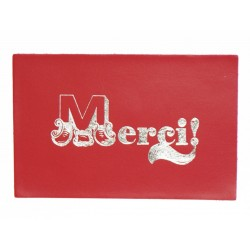 Carte Postale Cuir 'Merci' Rouge