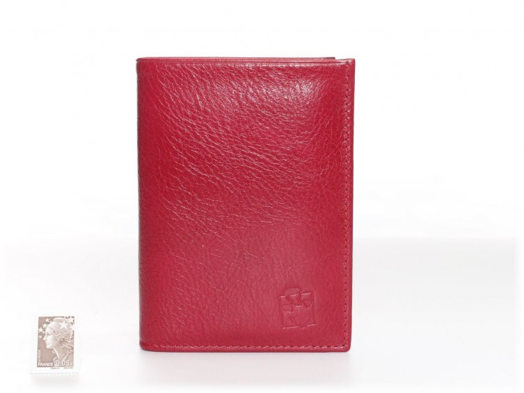 Portefeuille Femme Compact Cuir Rouge 582