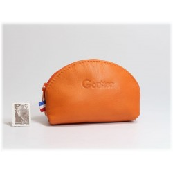 Porte-monnaie demi-lune en cuir Orange 897