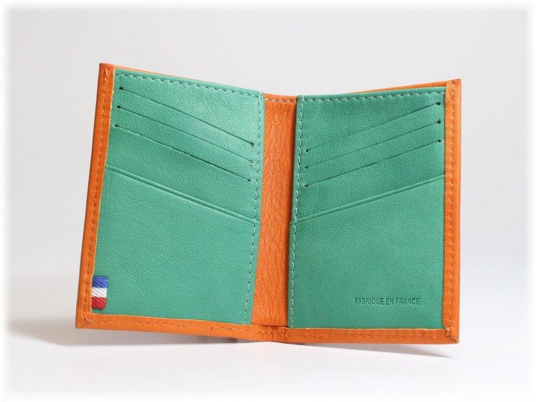 Porte-carte compact en cuir bicolore Orange et Vert 116