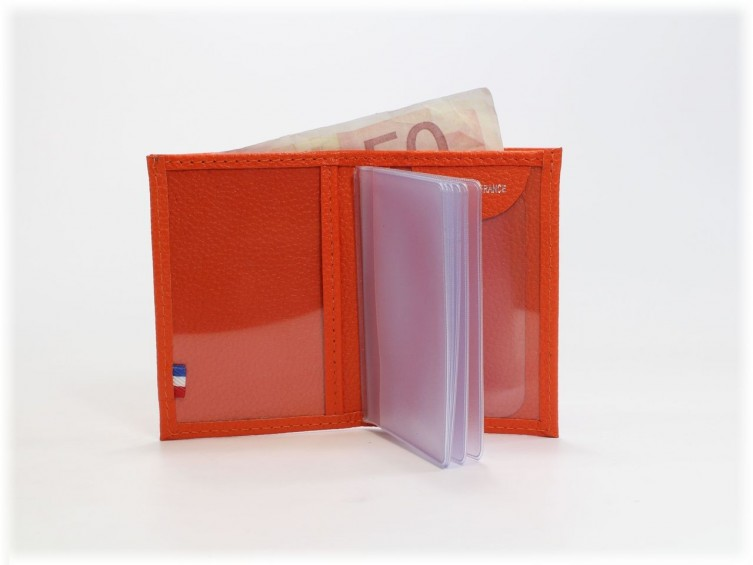 Porte-carte compact en cuir orange 116