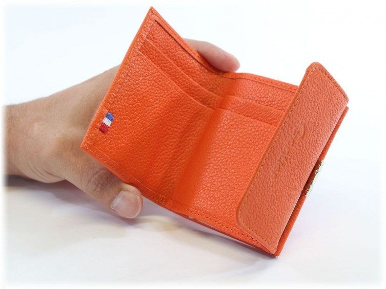 Porte-monnaie en cuir orange 206