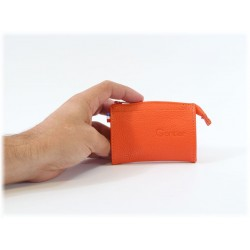 Porte-monnaie en cuir orange 255