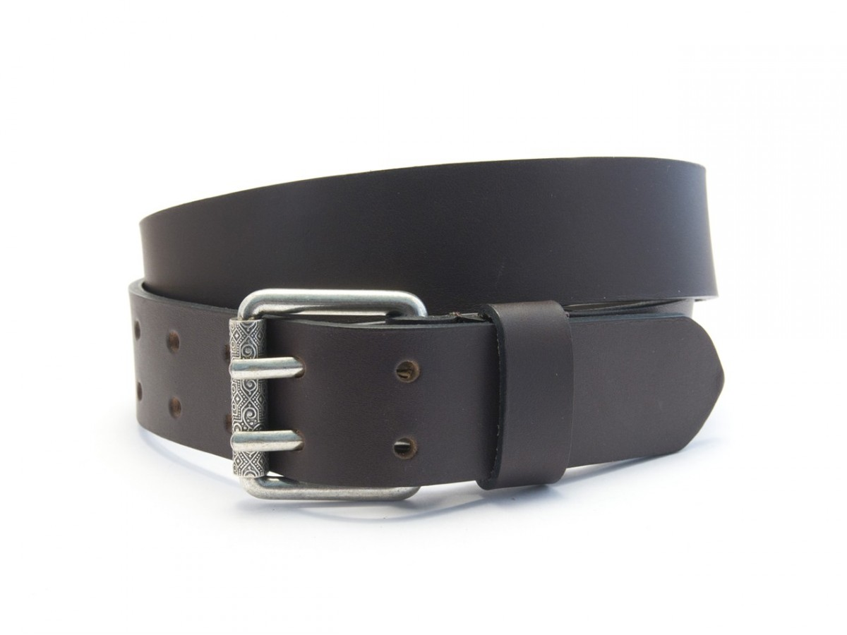 official supplier beauty new arrival Ceinture homme en cuir noir double perforation 4021