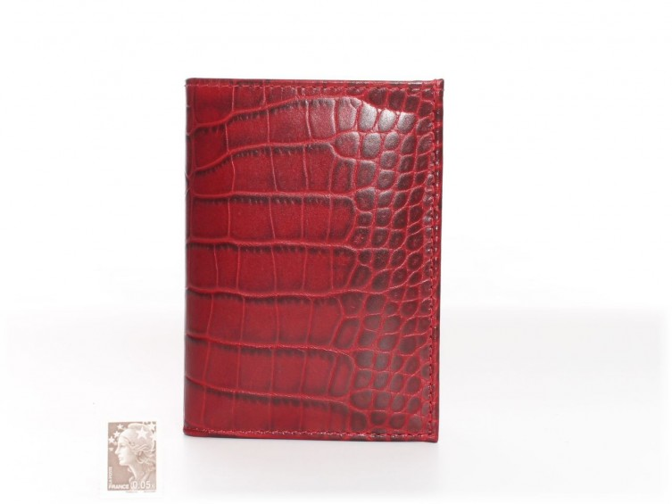 Portefeuille Compact Cuir Croco Rose 582